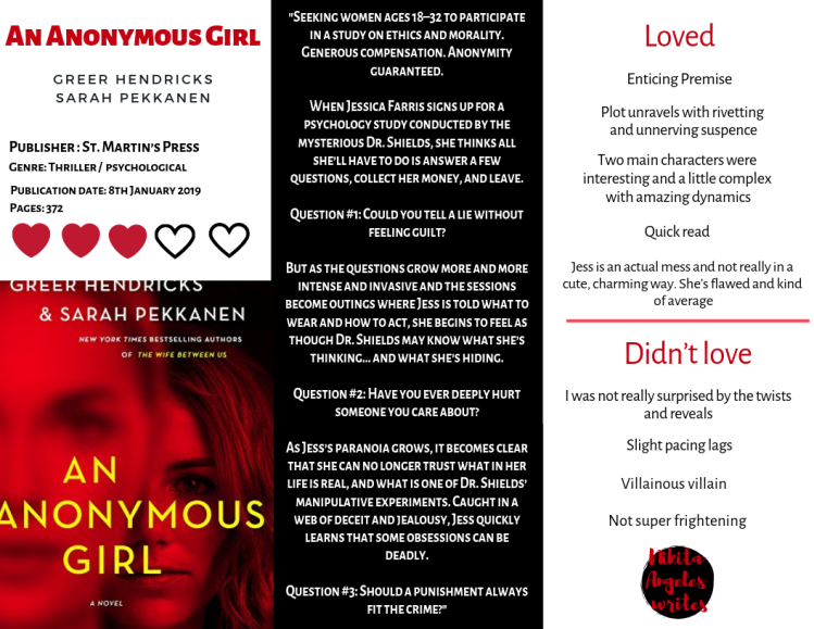 An Anonymous Girl - Greer Hendricks & Sarah Pekkanen Quick Review